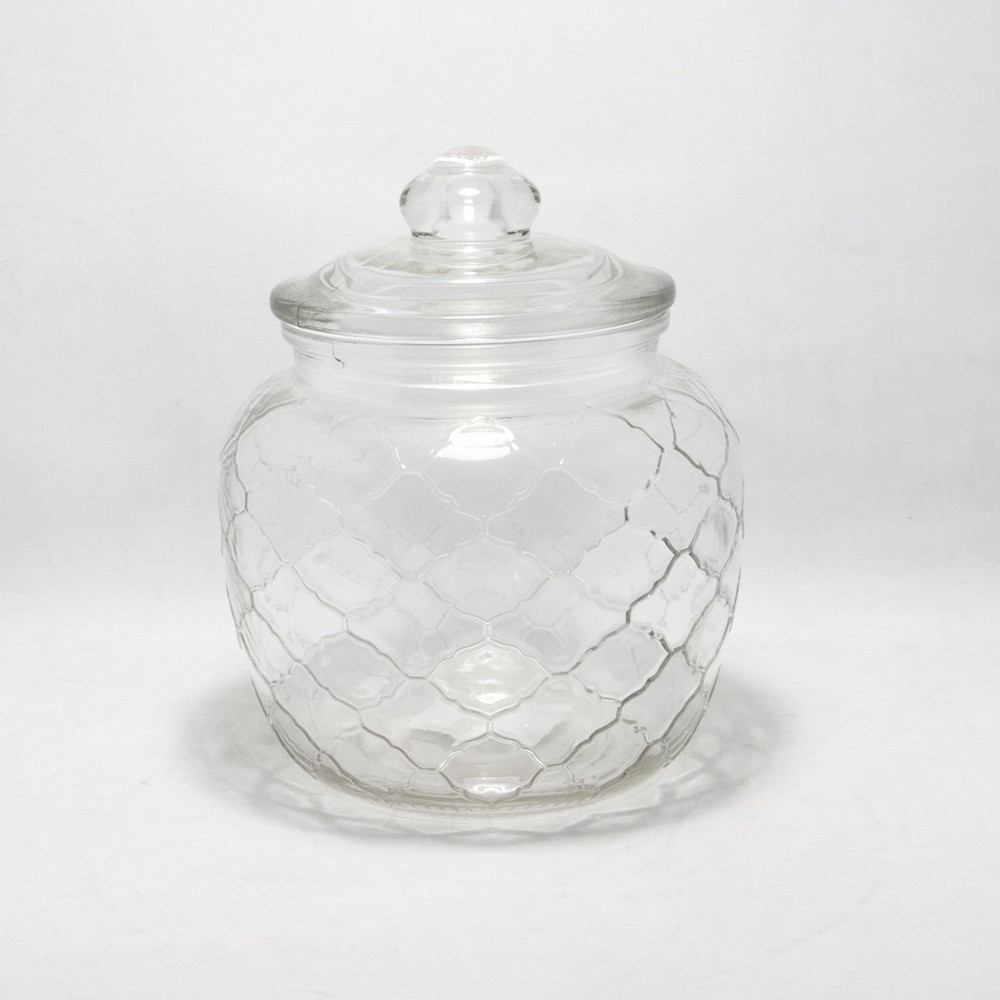 Frasco vidrio C/Tapa gordo mediano