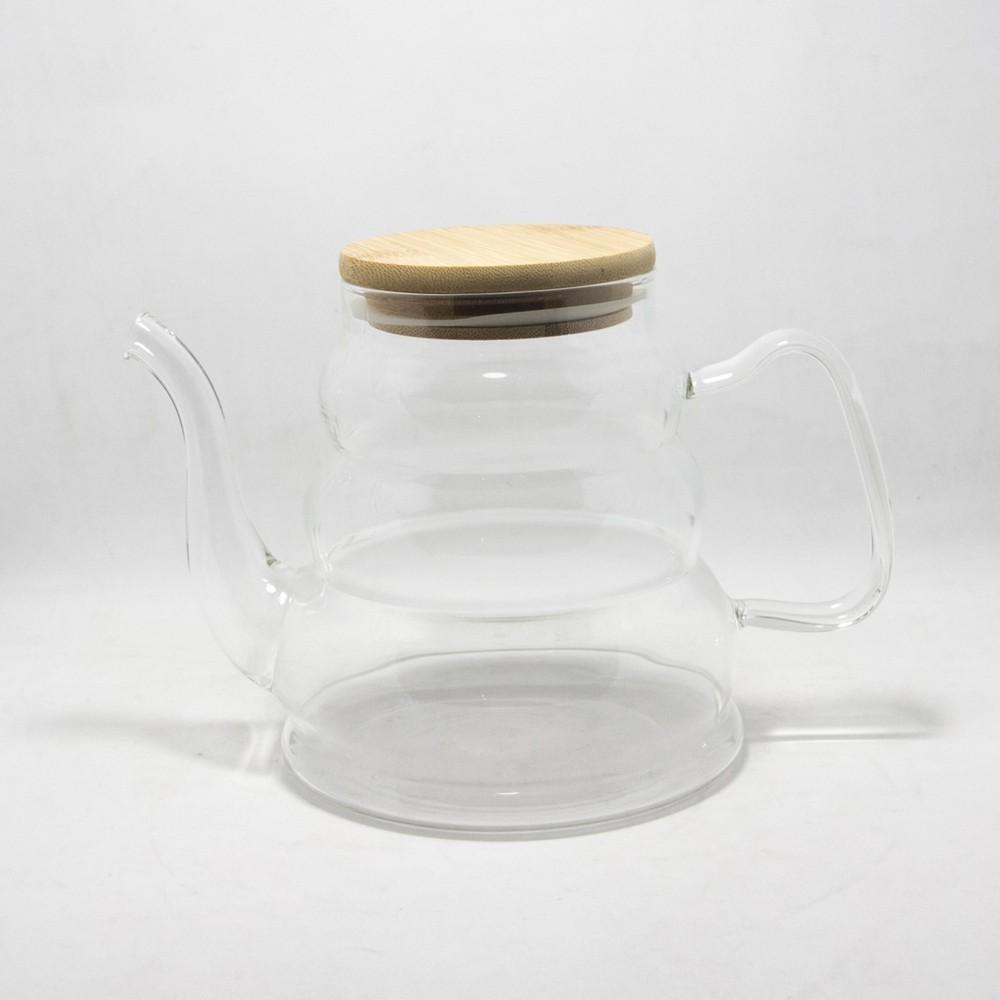 Tetera vidrio E/Caja con tapa de madera