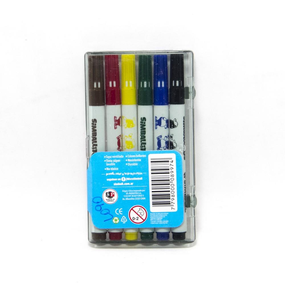 Micro marcador corto x6 caja acrilica