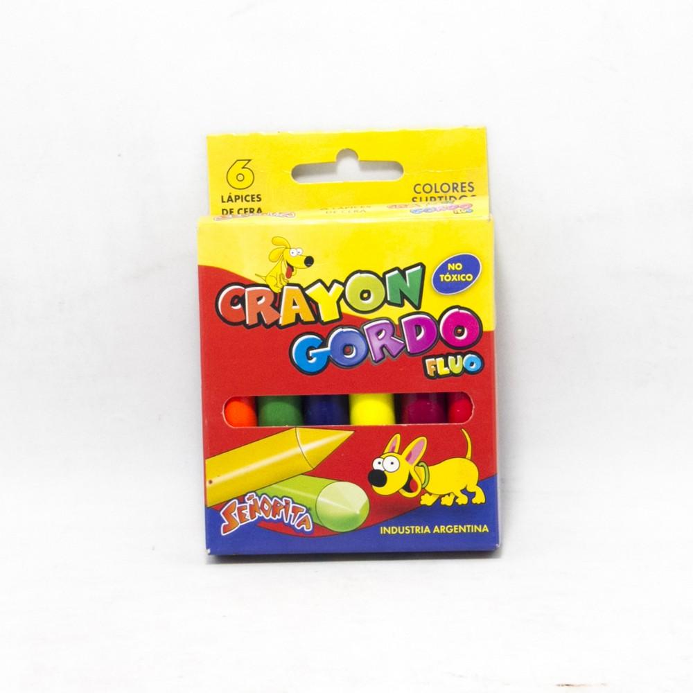 Crayon  gordo fluo x6 señorita